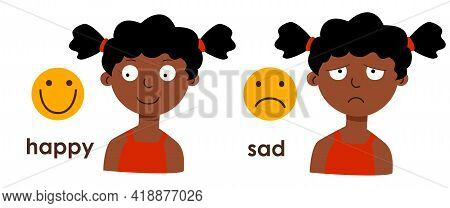 A Cute African American Girl With Different Moods - Sad, Cheerful. Emoticons Joy And Sadness. A Chil