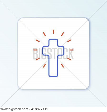 Line Christian Cross Icon Isolated On White Background. Church Cross. Colorful Outline Concept. Vect