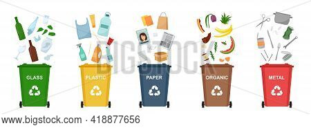 Set Of Garbage Bins For Recycling Different Types Of Waste. Sorting And Recycling Waste. Vector Illu