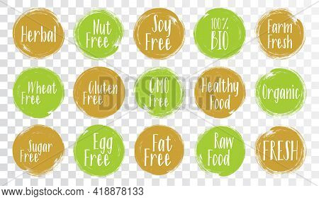 Organic Labels, Bio Emblems For Products Packaging. Vegan, Gluten Free, Fresh Raw Healthy Food, Prem