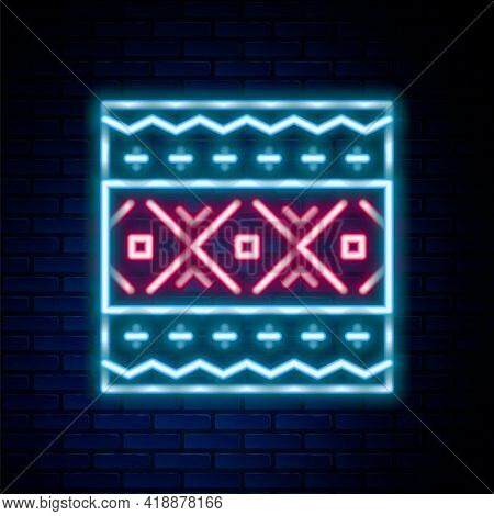 Glowing Neon Line Ukrainian Ethnic Pattern For Embroidery Icon Isolated On Brick Wall Background. Tr