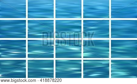 Water Surface Waves Ripple Fluid Gradient Backgrounds Vector Collection. Water Rippling Motion Turqu