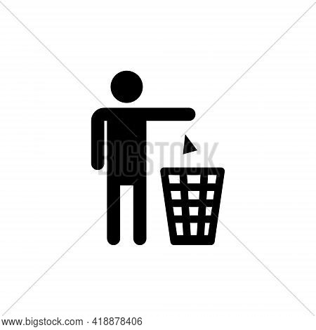 Silhouette Of A Man, Throwing Garbage In A Bin, Isolated On White Background