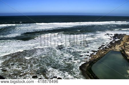 Beautiful Brave Sea Of The Coast Of Azenhas Do Mar And Natural Swimming Pool In Portugal