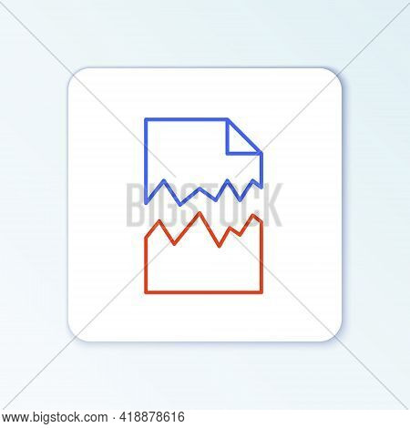 Line Torn Document Icon Isolated On White Background. Colorful Outline Concept. Vector