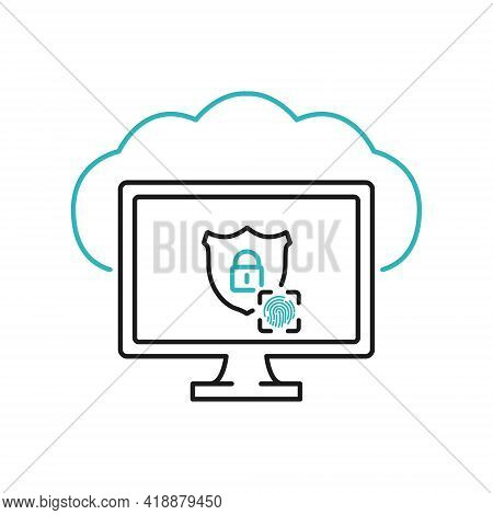 Cloud Security Line Icon On Computer Screen. Data Cloud Security. Cloud Icon Locked With Biometric F