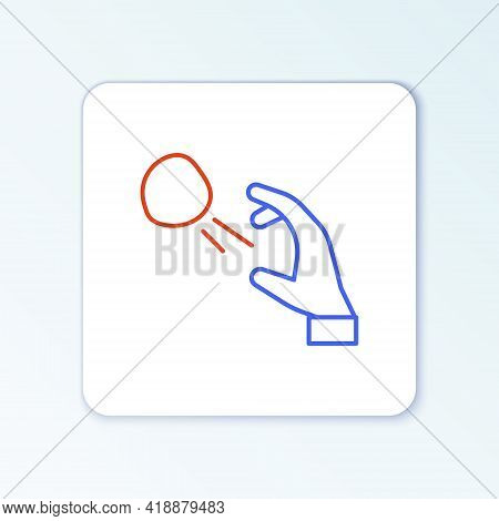 Line Hooligan Shooting Small Stones Icon Isolated On White Background. Demonstrator. Colorful Outlin