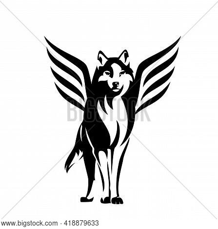Standing Winged Wolf Portrait - Mythical Animal Looking Forward Black And White Vector Outline