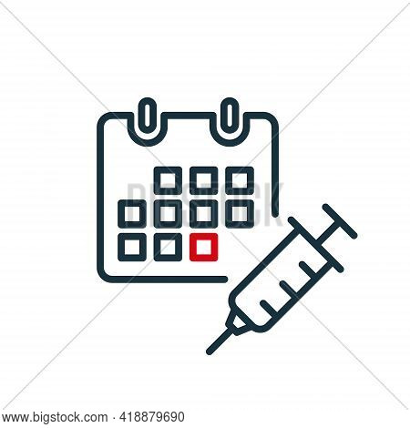 Time To Vaccinate Line Icon. Calendar With Syringe. Vaccine For Influenza, Measles, Covid Or Coronav