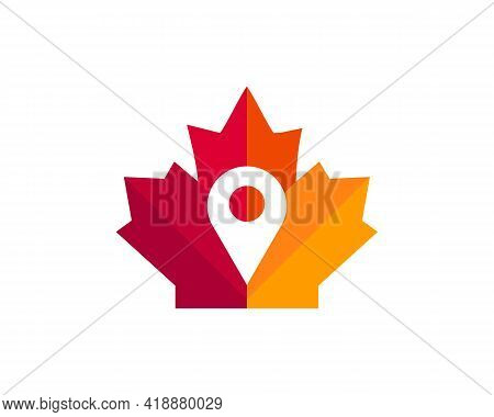 Maple Location Logo Design. Canadian Location Logo. Red Maple Leaf With Location Concept Vector