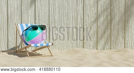 Beach Ball With Sunglasses On A Beach Chair With Wooden Background And Beach Sand. 3d Render