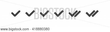 Checkmark Tick Collection, Check Approval And Read Message Tick Set In Sipmple Black Style, Approved