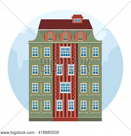 Cartoon House Colorful Architecture Amsterdam. European Style. Green And Brown Historic Facade. Vect