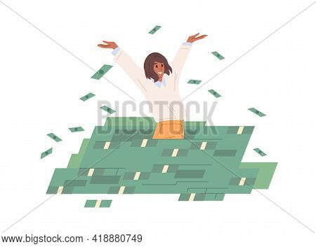 Rich Carefree Woman Throwing Money In Air, Standing In Cash Heap. Successful Wealthy Businesswoman.