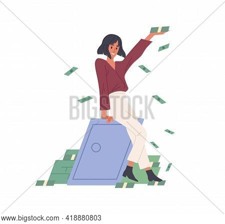 Happy Rich Woman Throwing Money, Making Cash Rain. Millionaire Near Metal Safe Box With Savings. Fin