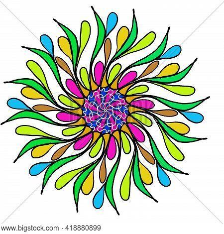 Geometric Mandala Ornament Decoration Symbol, Icon. Simple, Basic Mottle Circular,