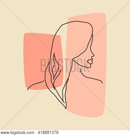 Hand Drawn Outline Contemporary Portrait Of Woman With Pale Sample Trendy Colors. Diversity Concept.