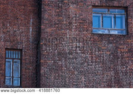 An Interesting Fragment Of An Old Red Brick Wall, Non-standard Windows