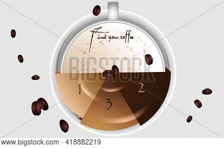 A Cup Of Coffee. Design Element For Decorating An Information Stand, Banner In A Coffee Shop, Restau