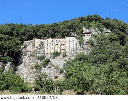 Ancient Convent In The Town Of Greccio Where St. Francis Of Assisi  Invented The First Crib In The W