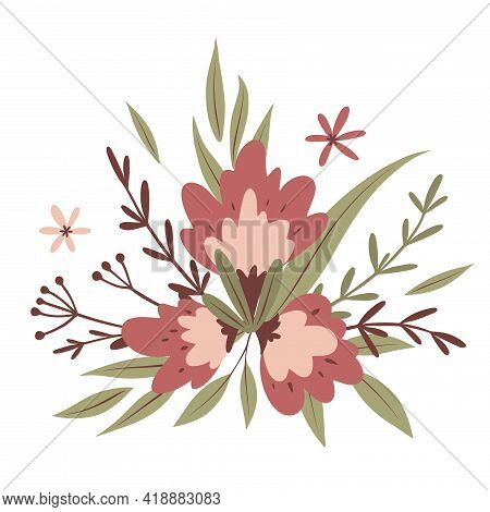 Bouquet Of Flowers. For Greeting Cards, Posters, Stickers, Invitation, T-shirt Print. Women's Day, M