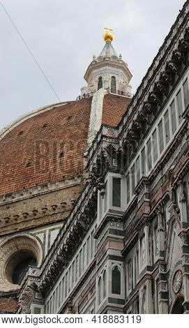 Big Brunelleschis Dome Of The Florence Cathedral With The Golden Sphere Above The Tip