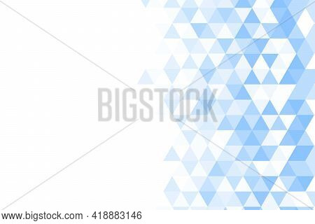 Polygonal Blue Mosaic Background. Abstract Low Poly Vector Illustration. Triangular Pattern In Halft