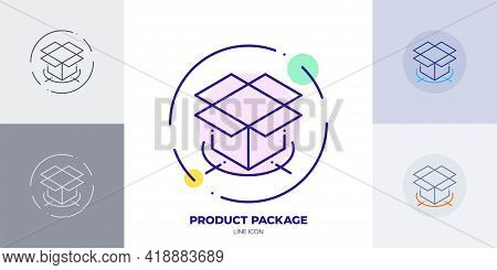 Product Package Box Line Art Vector Icon. Outline Symbol Of 3D Package Box. Isometric Product Box Ma