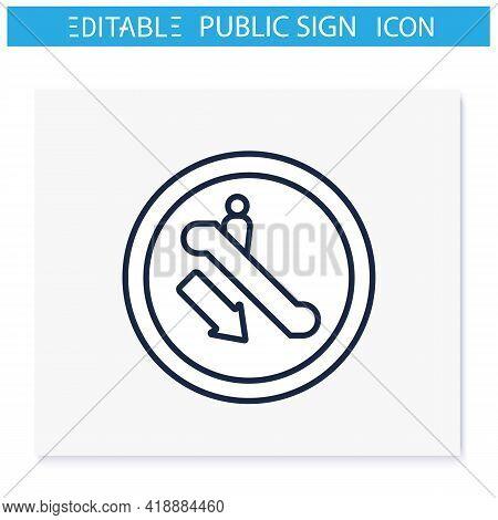 Escalator Symbol Line Icon. Ground Floor Descent. Stairway Sign. Public Place Navigation. Universal