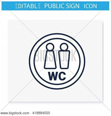 Wc Symbol Line Icon. Public Restroom. Toilet, Lavatory Sign. Public Place Navigation. Universal Publ
