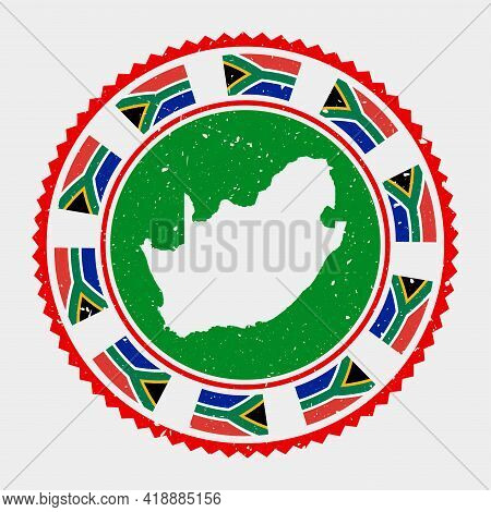South Africa Grunge Stamp. Round Logo With Map And Flag Of South Africa. Country Stamp. Vector Illus