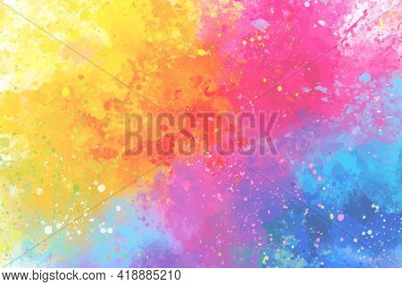 Artistic Rainbow Colors Splash Watercolor Background. Bright Colorful Background