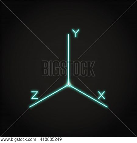 Neon Coordinate Axis Icon In Line Style