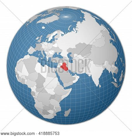 Globe Centered To Republic Of Iraq. Country Highlighted With Green Color On World Map. Satellite Wor