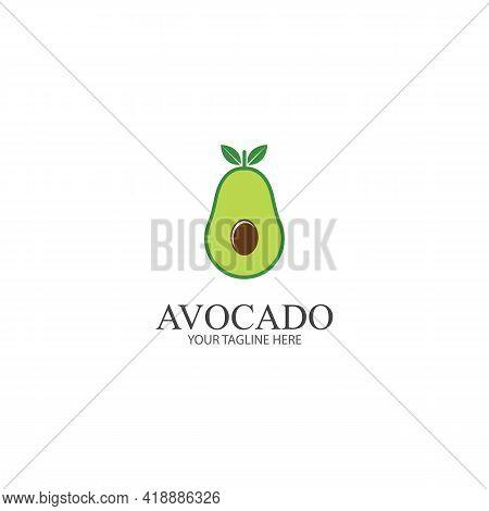 Avocado Fruit Logo Template. Avocado Half With Leaf Vector Design. Health Food Logotype Avocado Logo