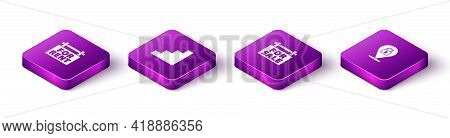 Set Isometric Hanging Sign With For Rent, Staircase, Sale And Location Lock Icon. Vector