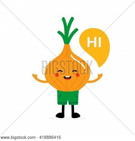 Cute Smiling Cartoon Style Onion Bulb Vegetable Character In Green Shorts With Speech Bubble Saying