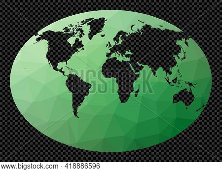 Low Poly Map Of The World. Fahey Projection. Polygonal Map Of The World On Transparent Background. S