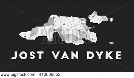 Jost Van Dyke - Communication Network Map Of Island. Jost Van Dyke Trendy Geometric Design On Dark B