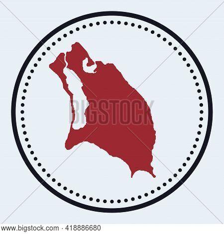 Barbuda Round Stamp. Round Logo With Island Map And Title. Stylish Minimal Barbuda Badge With Map. V