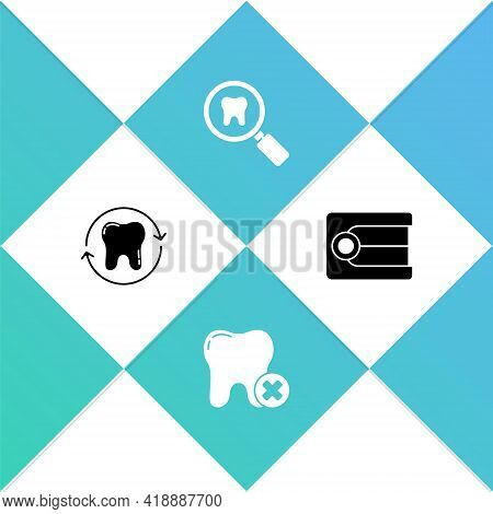 Set Tooth Whitening, With Caries, Dental Search And Dentures Model Icon. Vector