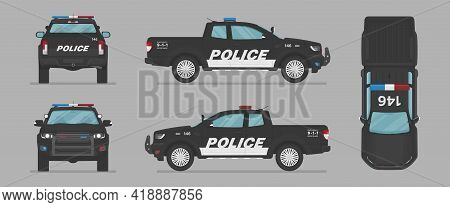 Vector Pickup Auto. American Police Car. Side View, Front View, Back View, Top View. Cartoon Flat Il