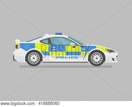 English Police Super Car. Side View. Cartoon Flat Illustration. Auto For Graphic And Web