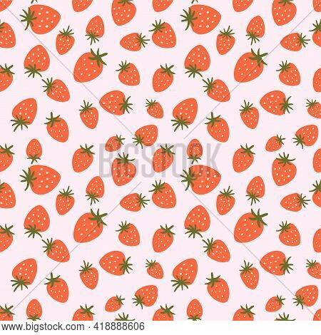 Strawberry Seamless Pattern. Cute Summer Berries Simple Hand Drawn Illustration. Strawberry Print, P