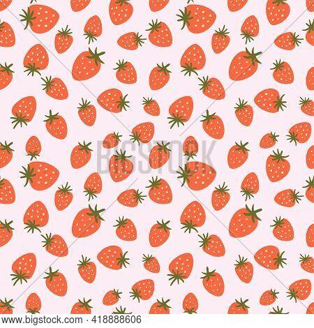 Strawberry Seamless Pattern. Cute Summer Berries Simple Hand Drawn Illustration. Strawberry Print, P