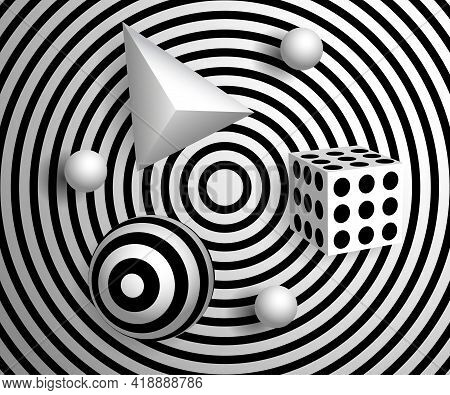 Abstract 3d Effect Background. Patterned Objects On Striped Background. Volume Black And White Objec