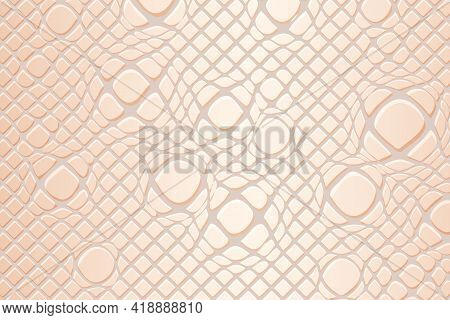 Light Background With Snake Skin Effect. Crocodile Or Snake Skin Leather