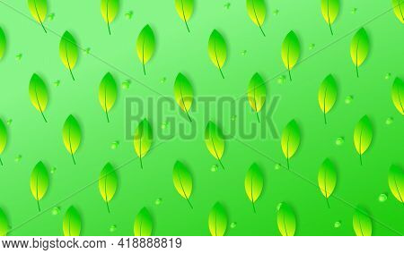 Spring Green Background With Leaves And Glass Spheres