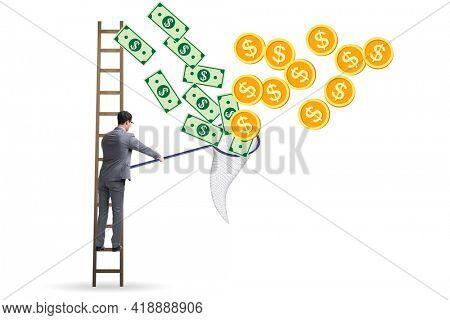 Businessman catching money with landing net