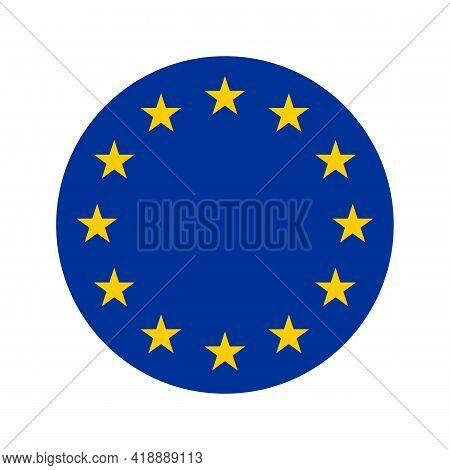 Rounded Icon Of Flag Of Europe, European Flag